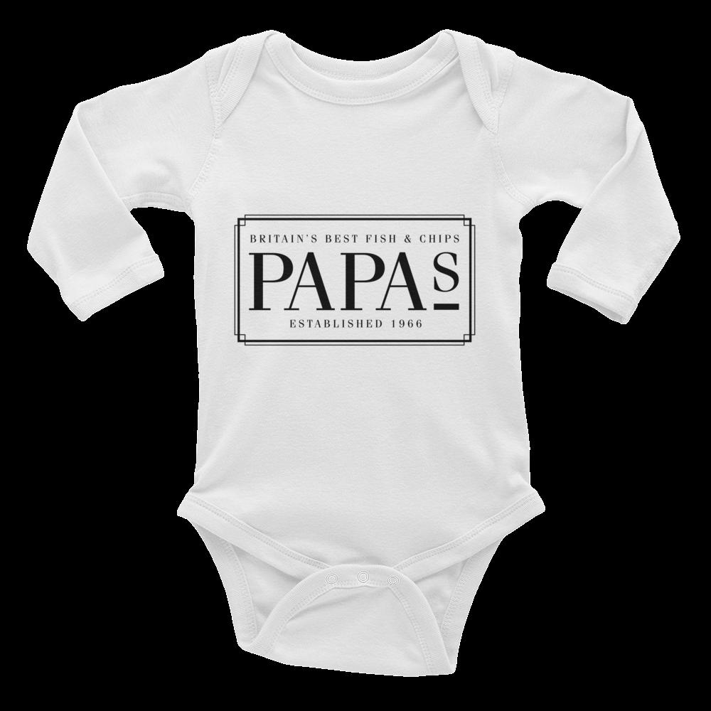 471ddd901 Original Logo Infant Long Sleeve Baby Grow   Papas